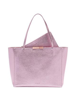 Ted Baker Criesia Leather Metallic Tote Bag Light Pink