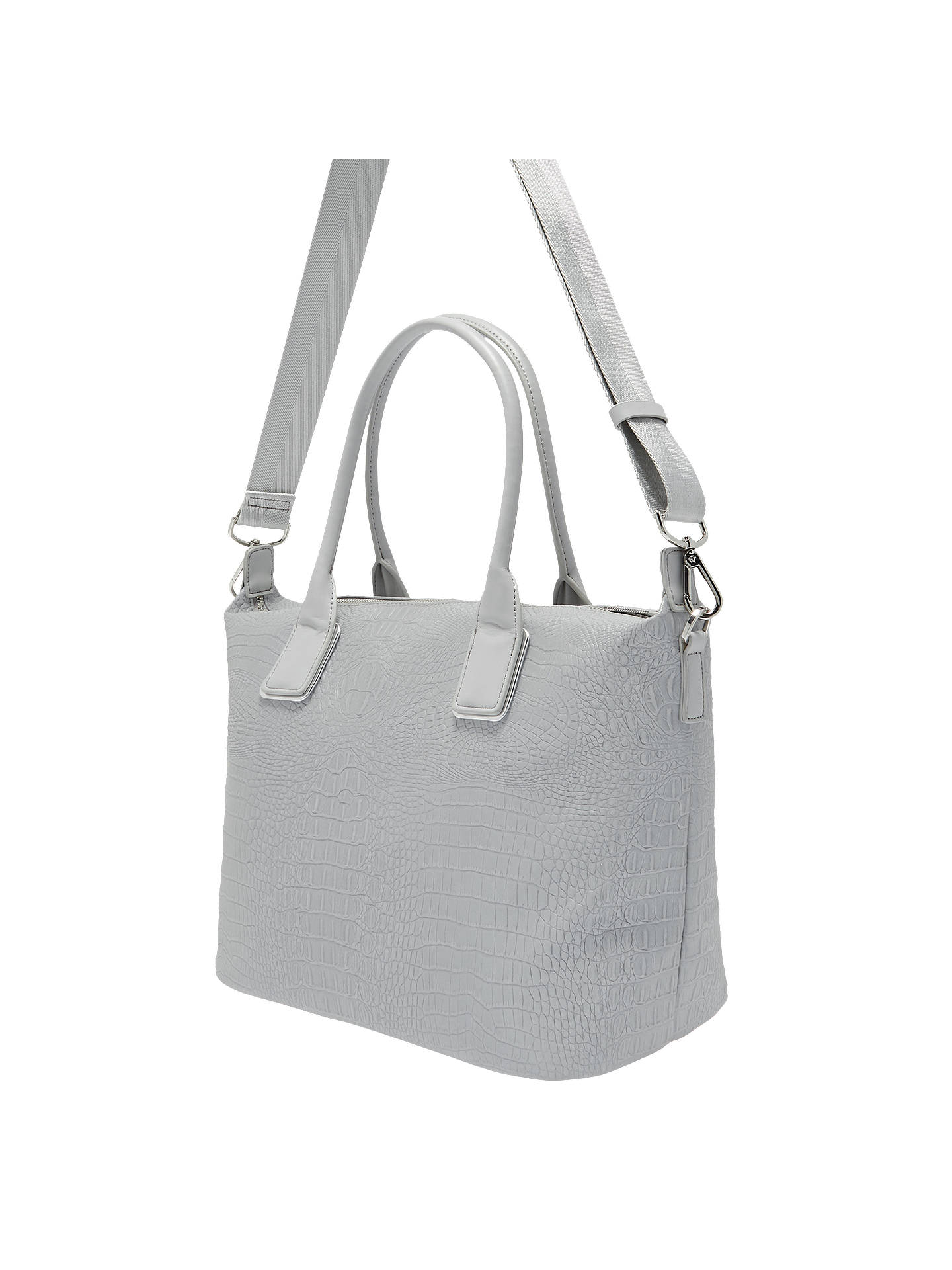 Buy Ted Baker Ciscki Croc Effect Tote Bag, Silver Online at johnlewis.com