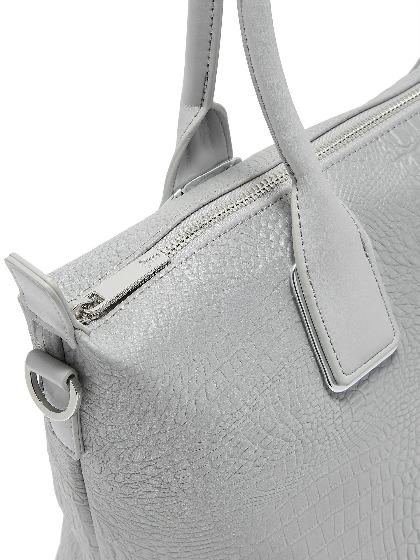 BuyTed Baker Ciscki Croc Effect Tote Bag, Silver Online at johnlewis.com