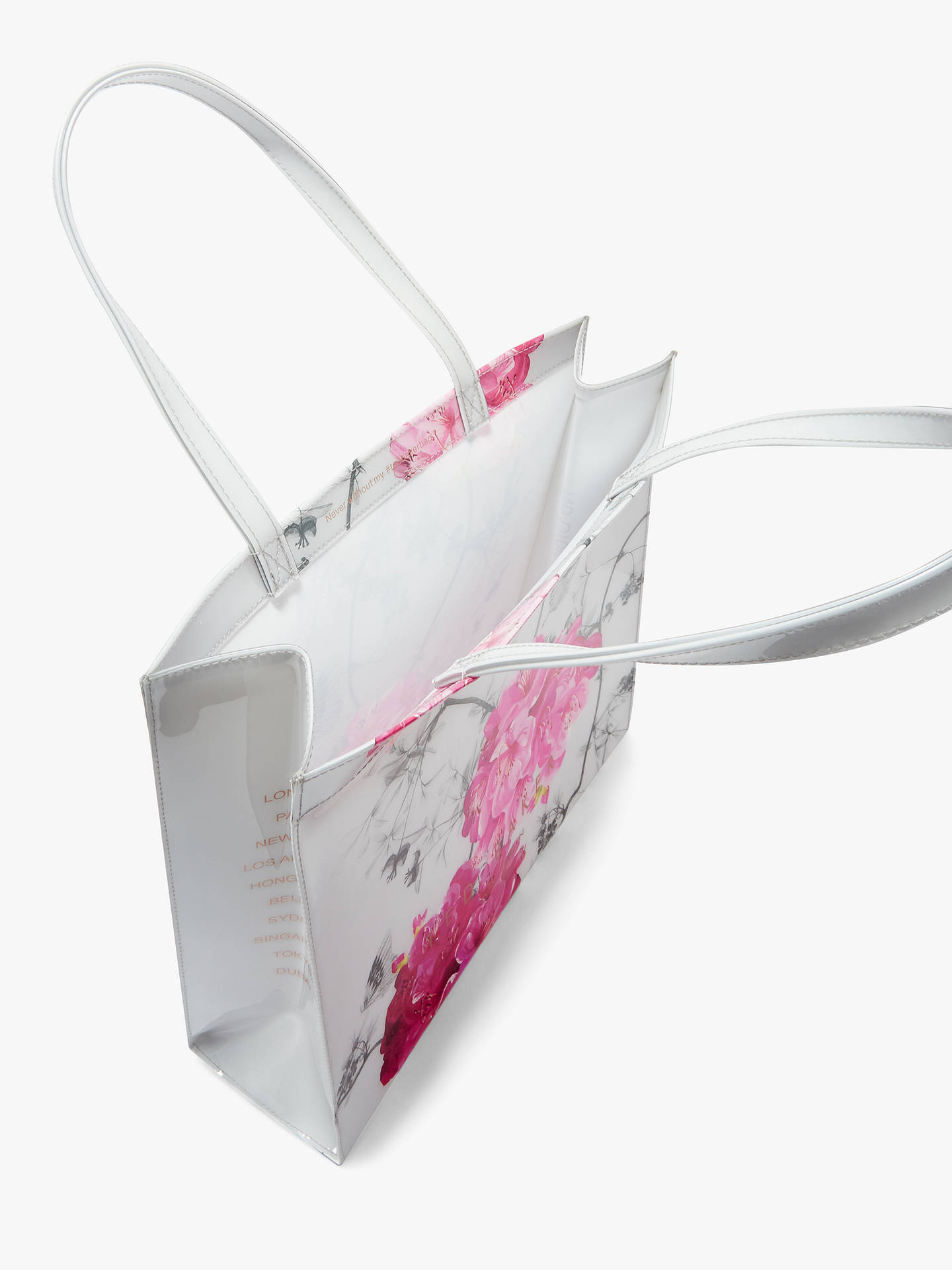 Buy Ted Baker Idiecon Floral Shopper Bag, Grey/Multi Online at johnlewis.com
