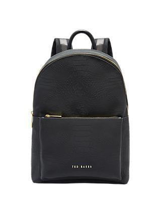 Ted Baker Creaala Leather Croc Effect Backpack Black