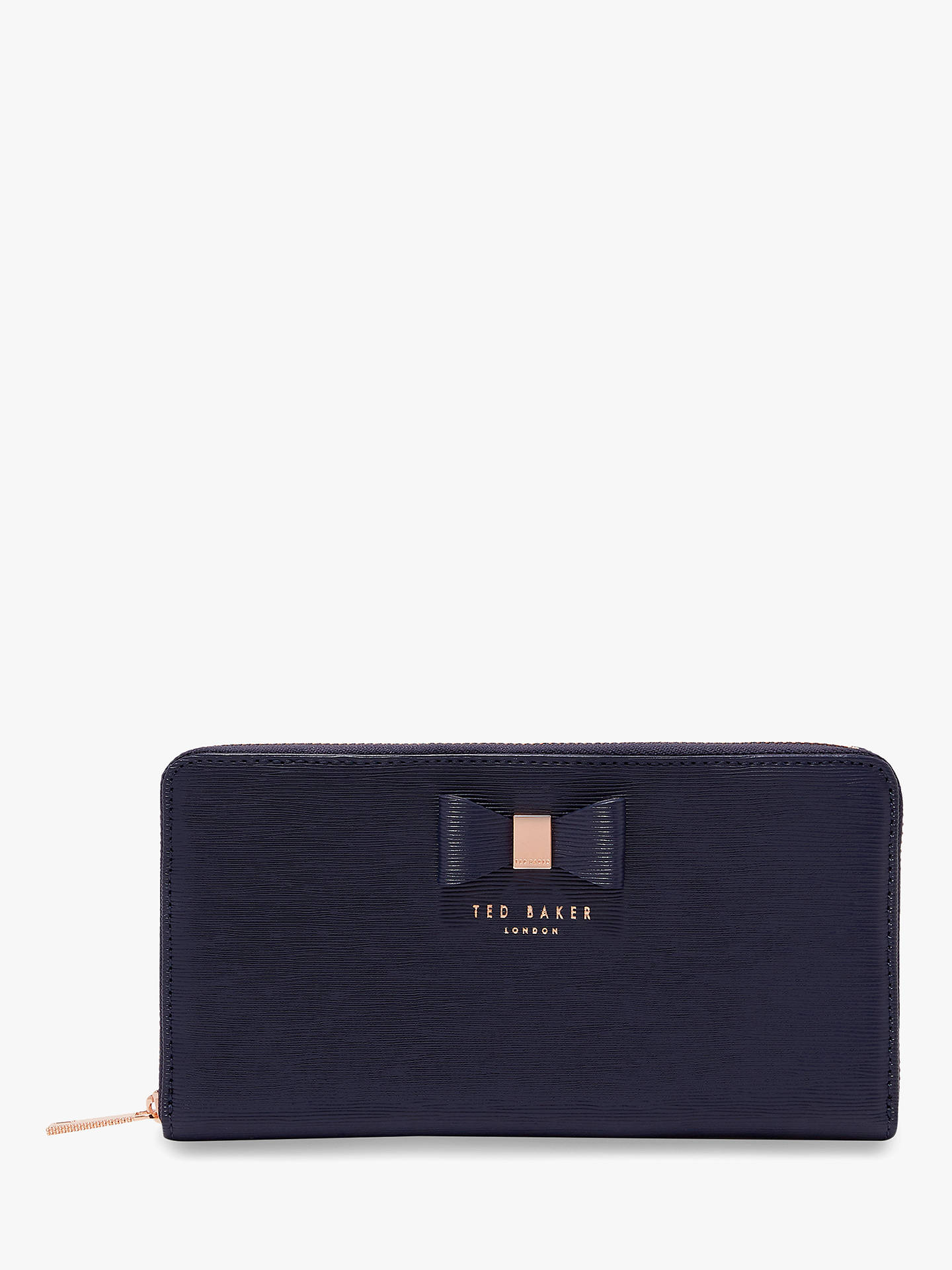BuyTed Baker Peony Leather Zip Around Purse, Dark Blue Online at johnlewis.com