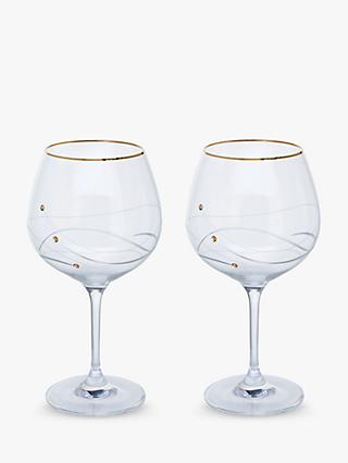 Dartington Crystal Glitz Crystal Gin Glasses, 610ml, Set of 2, Clear/Gold
