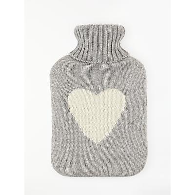 John Lewis & Partners Hot Water Bottle, Grey Knit White Heart