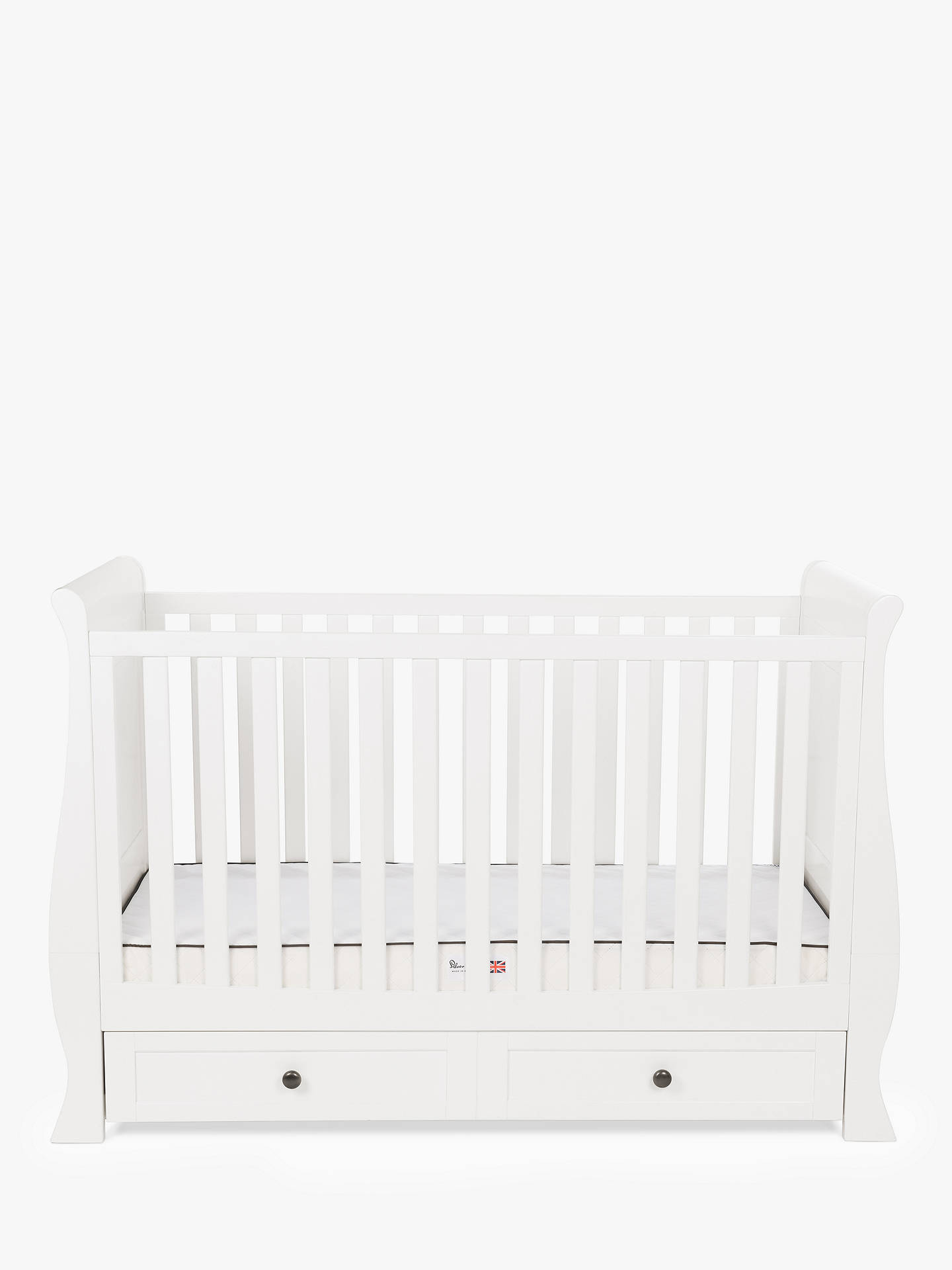 BuySilver Cross Nostalgia Sleigh Cotbed, Pure White Online at johnlewis.com