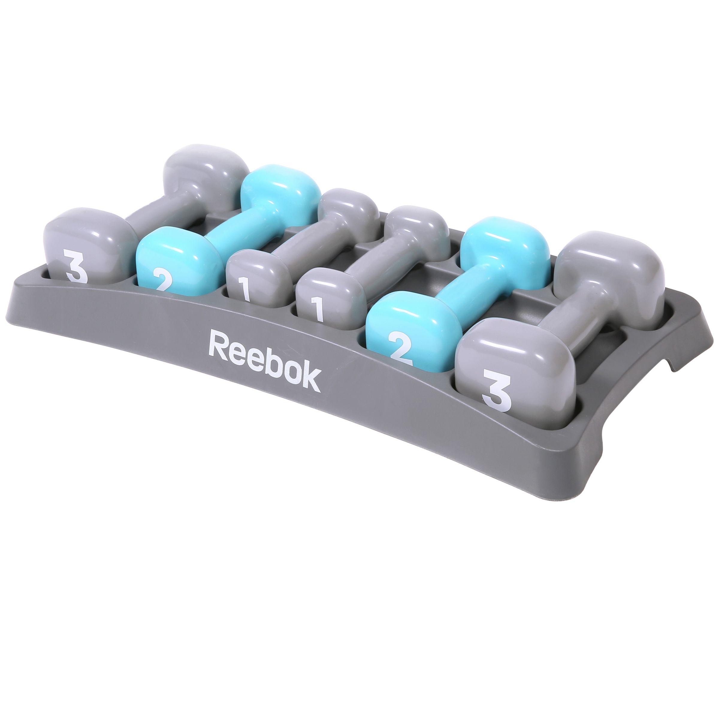Reebok Reebok Dumbbell Set, Grey/Light Blue
