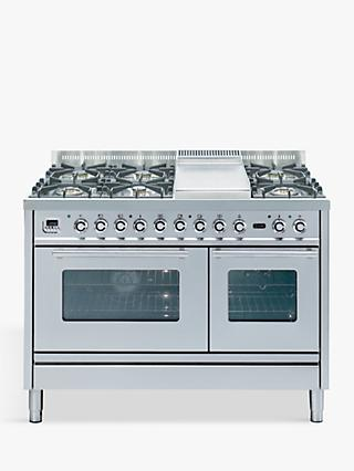 ILVE Roma PSW120FE3/I 120cm Dual Fuel Range Cooker, A Energy Rating, Stainless Steel