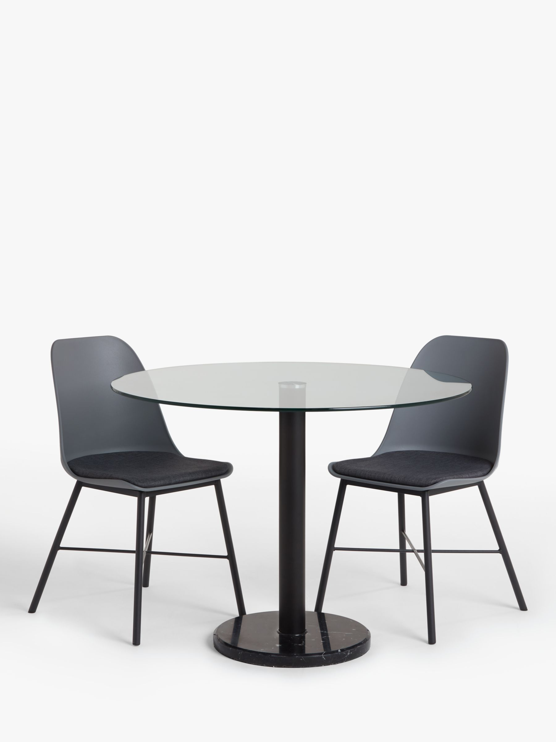 House By John Lewis Enzo 4 Seater Glass Round Dining Table Black Marble At John Lewis Partners