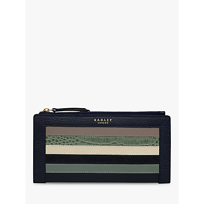 Radley Eltham Leather Large Top Zip Purse, Blue/Green