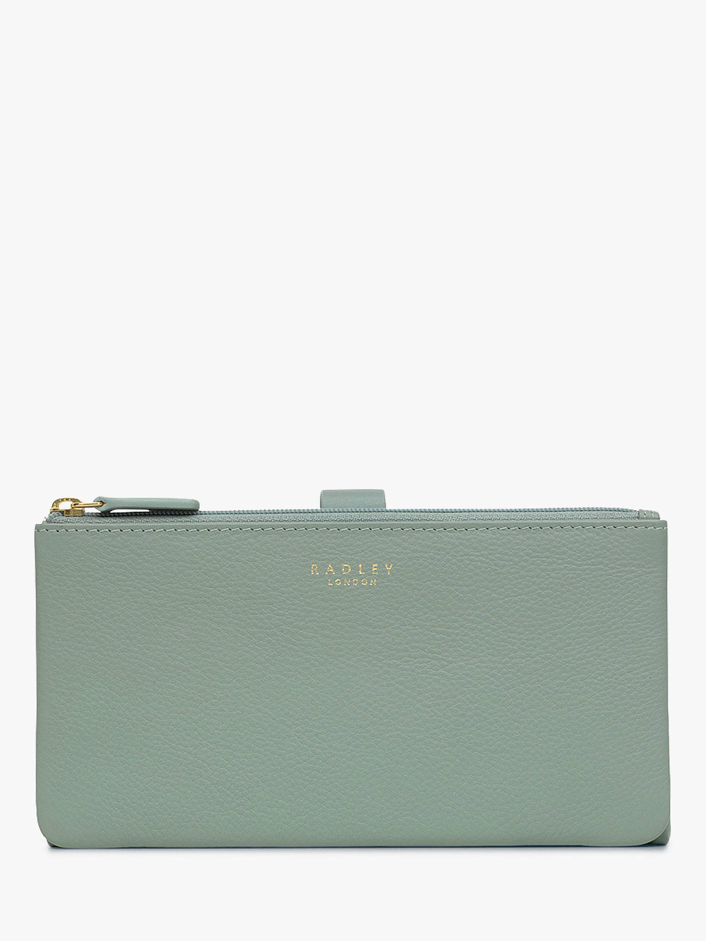 BuyRadley Larks Wood Leather Large Folded Matinee Purse, Pale Blue Online at johnlewis.com