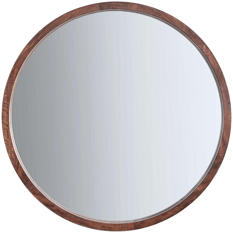 John Lewis Marx Wood Inlay Framed Round Mirror 90cm Natural At Johnlewis