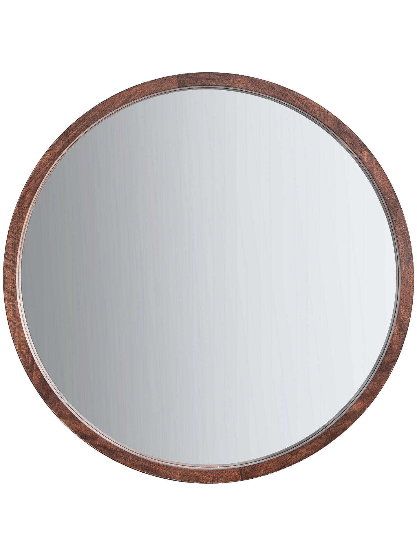John Lewis & Partners Marx Wood Inlay Framed Round Mirror, 90cm ...