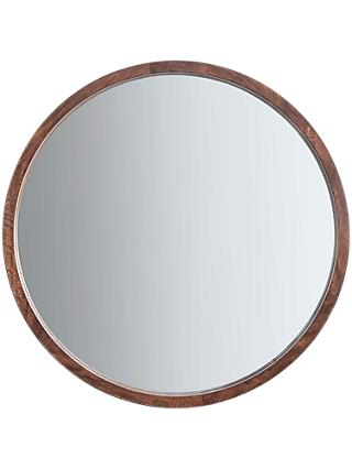 John Lewis Partners Marx Wood Inlay Framed Round Mirror 90cm Natural