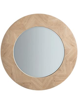 John Lewis Partners Tapio Wood Inlay Round Mirror 90cm