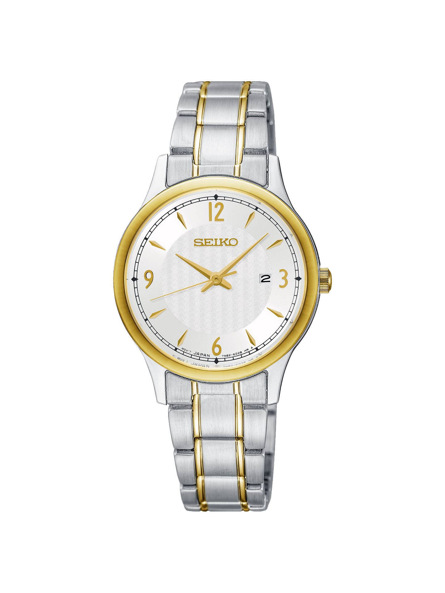 BuySeiko SXDG94P1 Women's Date Bracelet Strap Watch, Silver/Gold Online at johnlewis.com