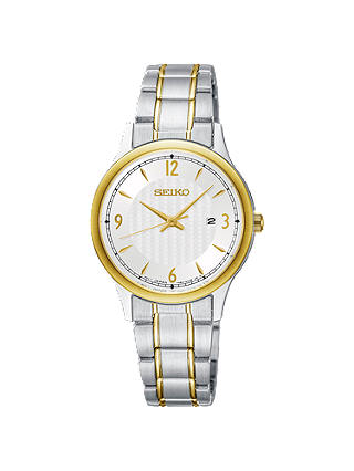 Buy Seiko SXDG94P1 Women's Date Bracelet Strap Watch, Silver/Gold Online at johnlewis.com