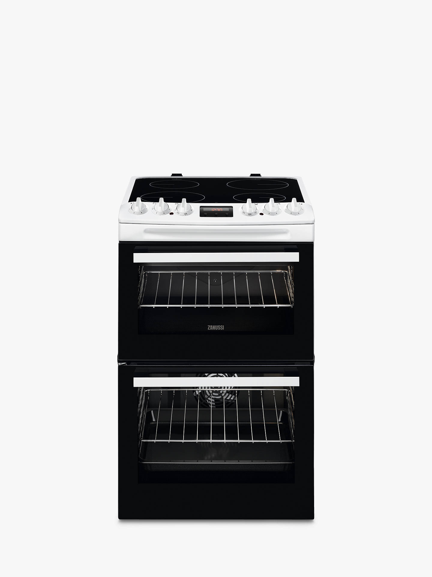 Buy Zanussi ZCV46250WA 55cm Double Electric Cooker, A Energy Rating, White Online at johnlewis.com
