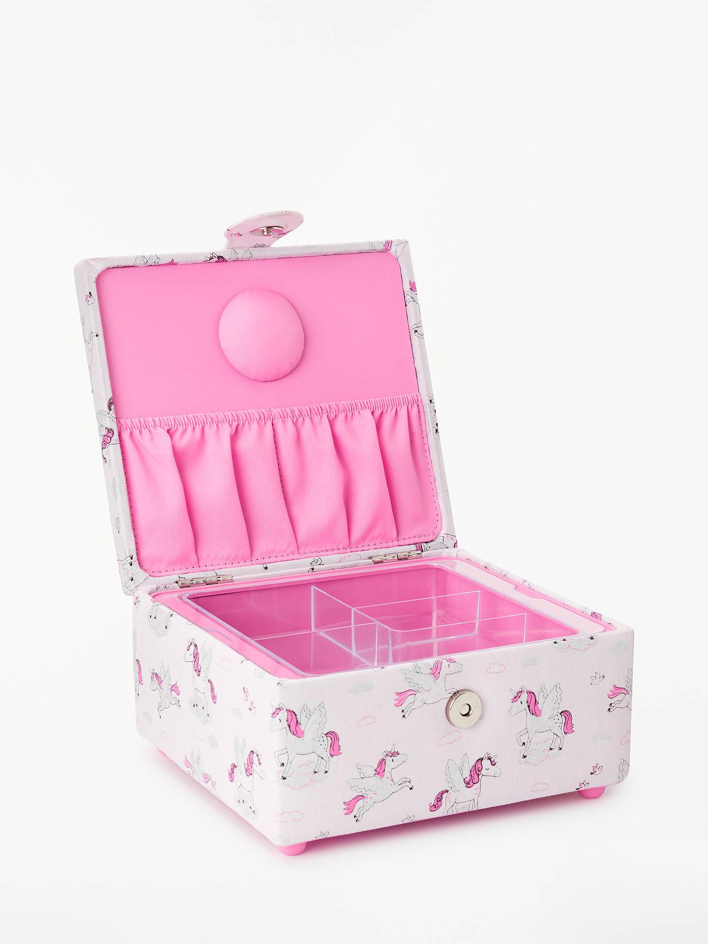 ab9510ff7b6f John Lewis & Partners Metallic Unicorn Print Small Square Sewing Basket,  Pink