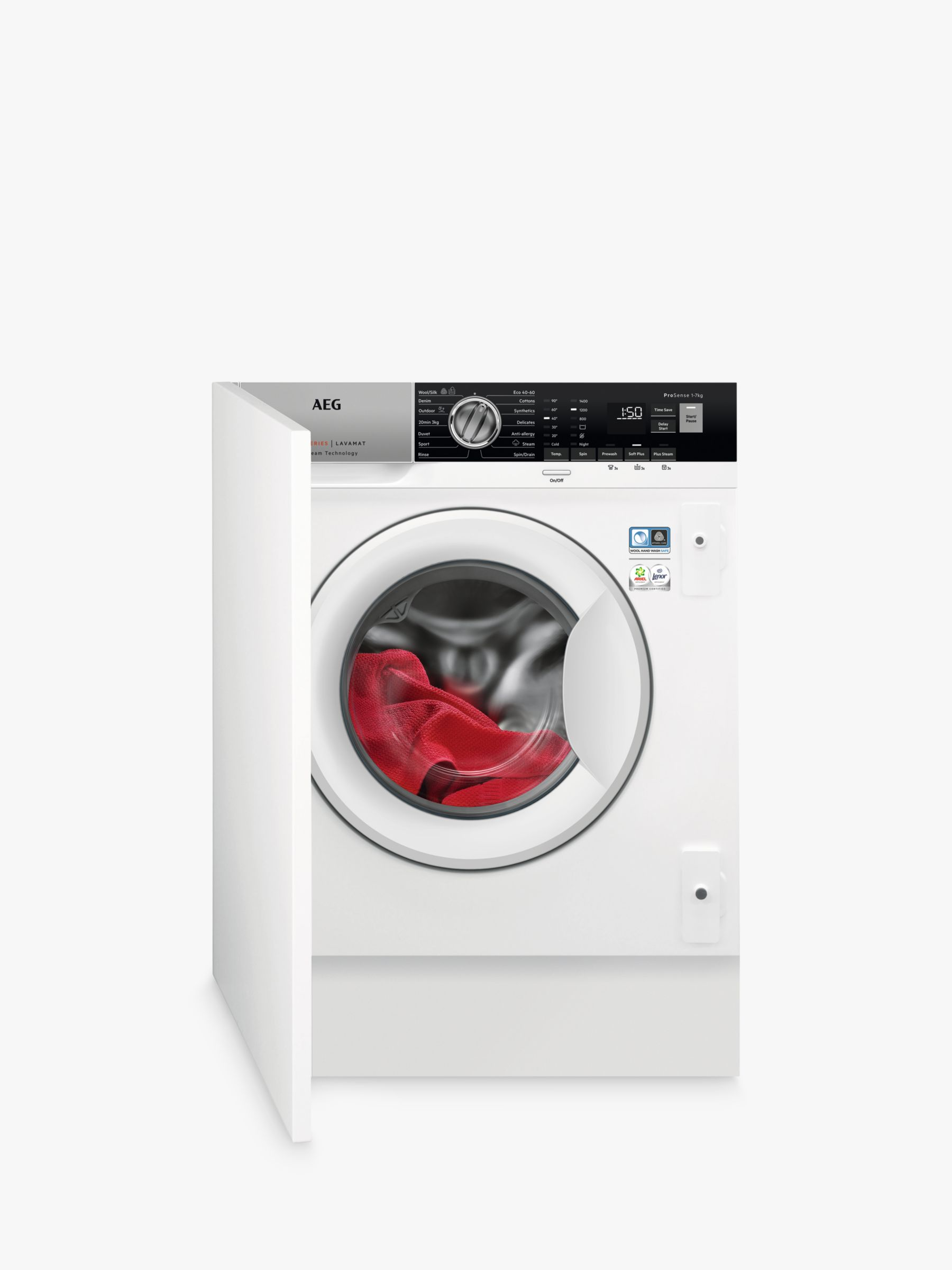 AEG AEG ProSteam Technology L7FE7461BI Integrated Washing Machine, 7kg Load, A+++ Energy Rating, 1400 RPM, White