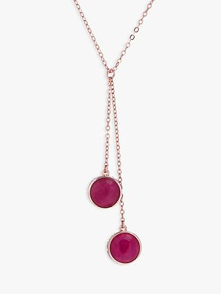Karen Millen Logo Glass Cabochon Double Drop Lariat Necklace, Fuchsia