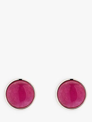 Karen Millen Round Glass Stud Earrings, Fuchsia