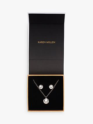 Karen Millen Swarovski Crystal Dot Necklace and Stud Earrings Gift Set, Silver