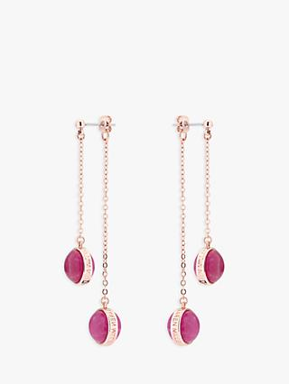 Karen Millen Glass Double Drop Earrings, Fuchsia