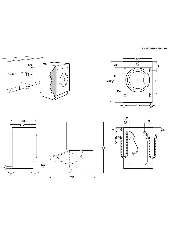Zanussi Z712W43BI Integrated Washing Machine, 7kg Load, A