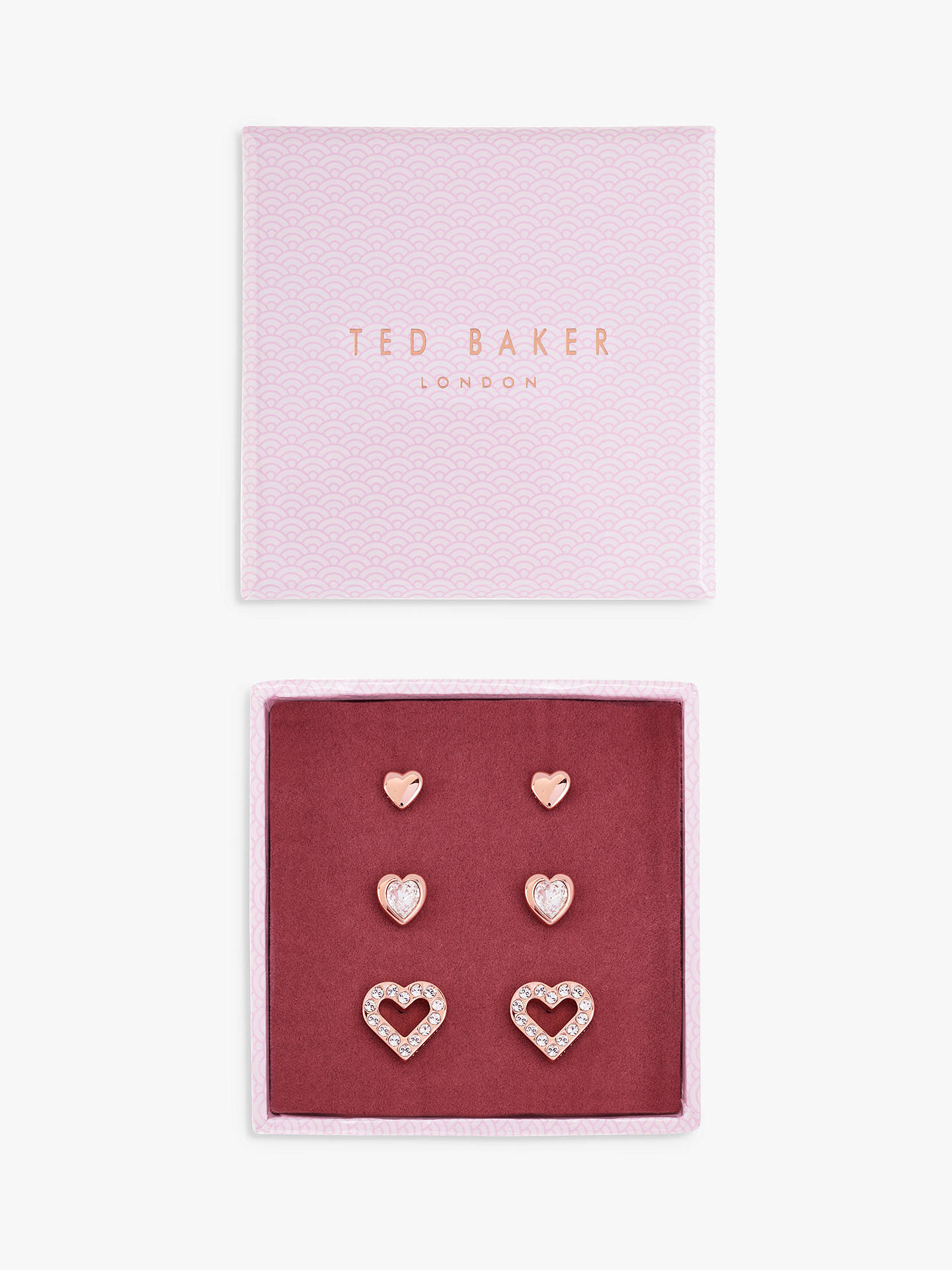 BuyTed Baker Laaria Heart Stud Earrings Gift Set, Rose Gold Online at johnlewis.com
