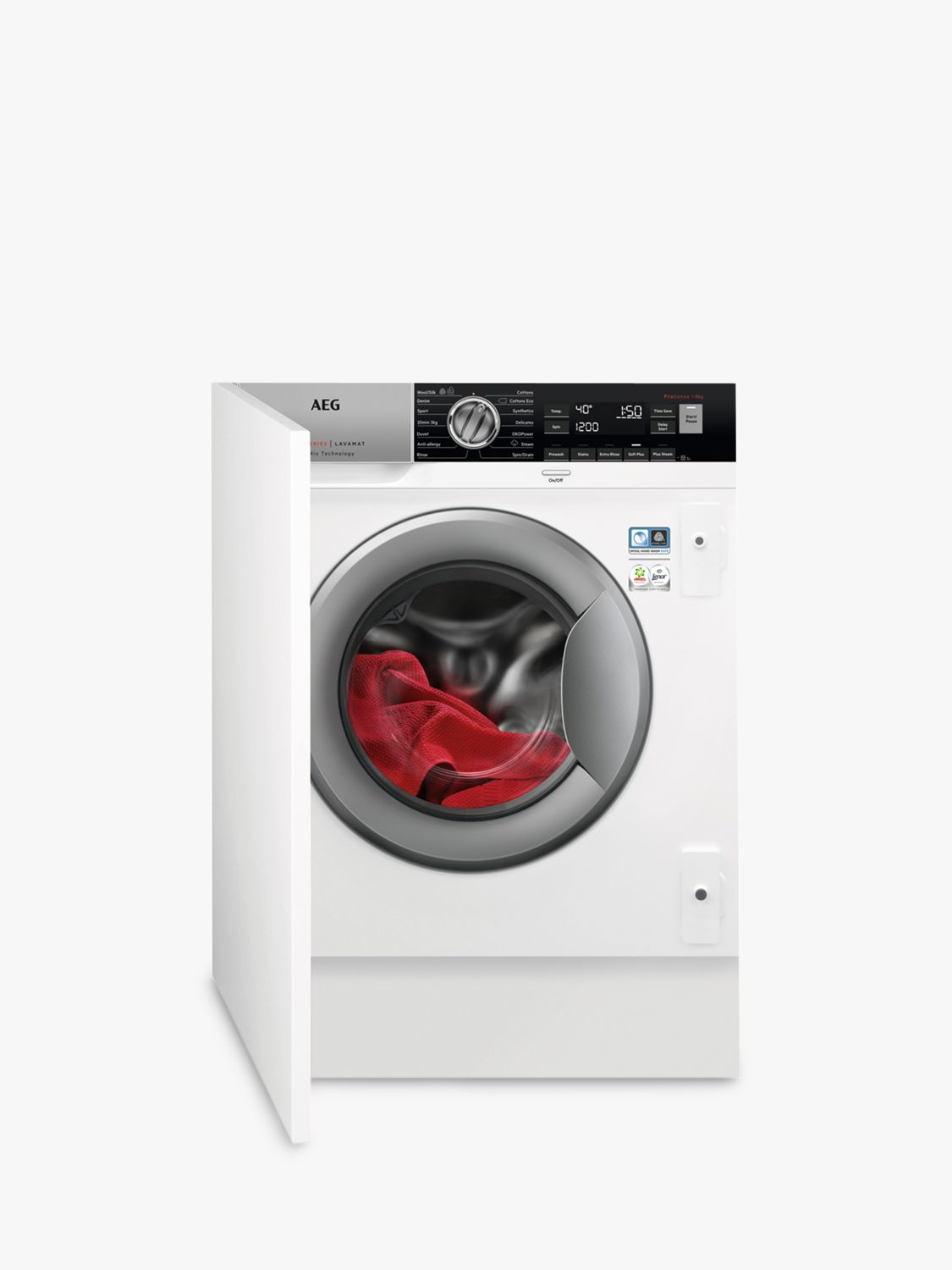 AEG AEG ProSteam Technology L8FC8432BI Integrated Washing Machine, 8kg Load, A+++ Energy Rating, 1400rpm Spin, White