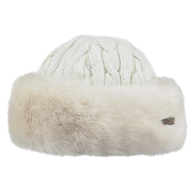 Barts Faux Fur Cable Bandhat, One Size, White