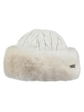 Barts Faux Fur Band Cable Knit Hat, White
