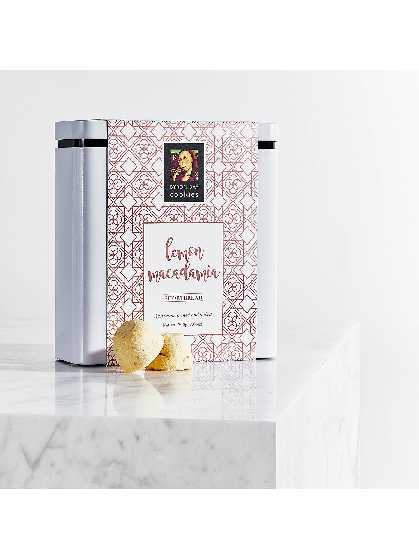 BuyByron Bay Cookie Company Lemon Macadamia Shortbread Tin, 200g Online at johnlewis.com