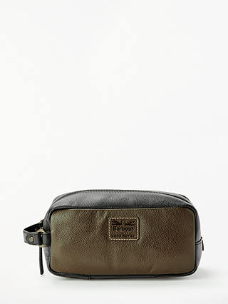 Buy Barbour Land Rover Defender Leather Wash Bag, Sage/Black Online at johnlewis.com