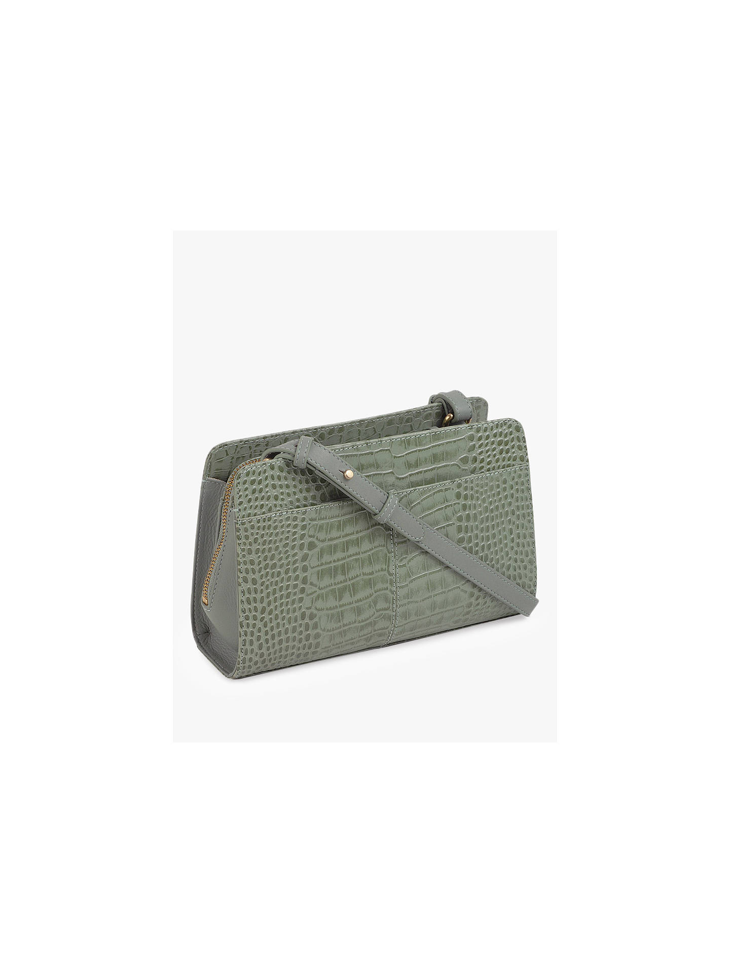 BuyRadley Liverpool Street Leather Croc Effect Medium Cross Body Bag, Green Online at johnlewis.com