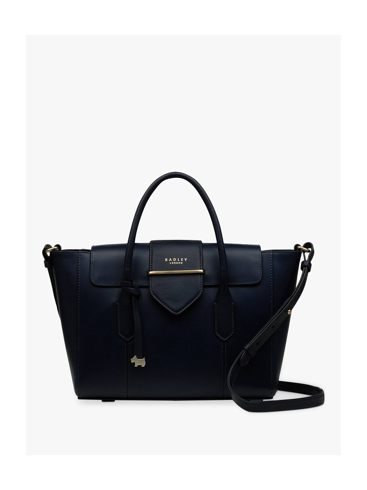 Buy Radley Palace Street Large Leather Flapover Grab Bag, Navy Online at johnlewis.com