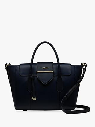 Radley Palace Street Large Leather Flapover Grab Bag Navy