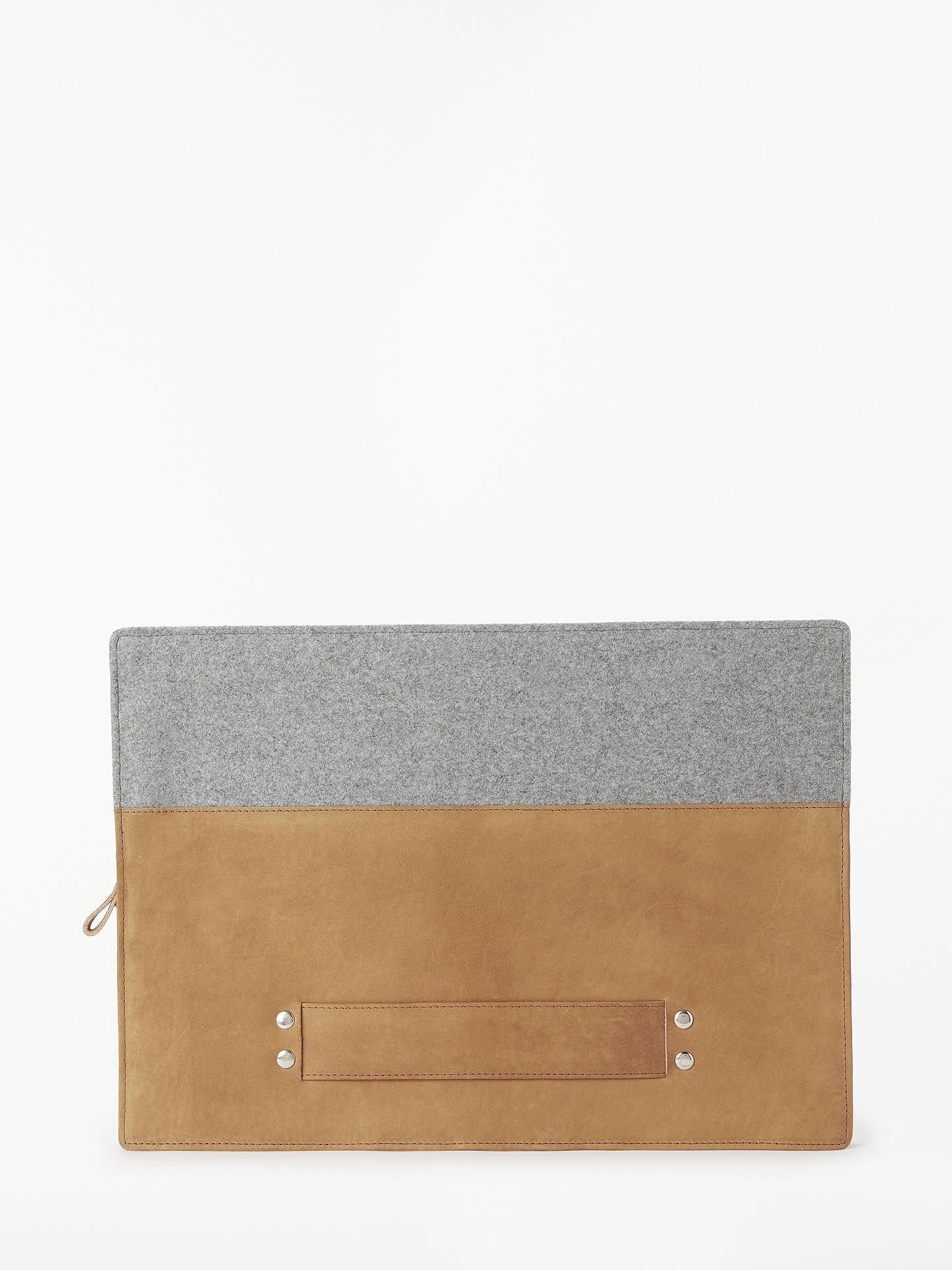 John Lewis Partners Leather Felt Laptop Case Brown Grey At John Lewis Partners