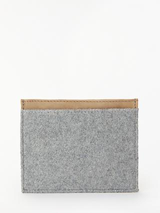 John Lewis & Partners Felt Leather Card Holder, Grey