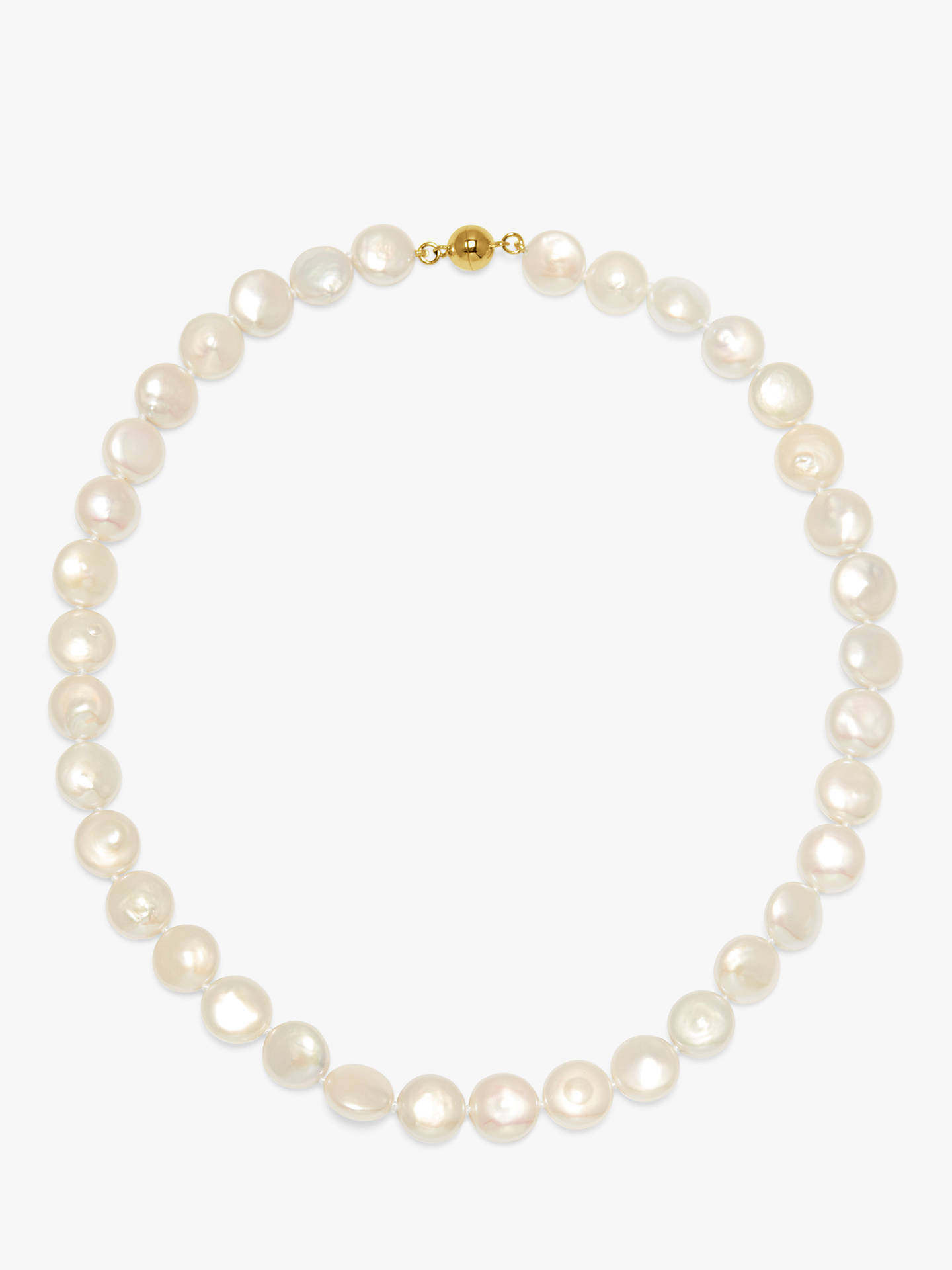 Buy A B Davis 9ct White Gold Coin Freshwater Pearl Necklace, White Online at johnlewis.com