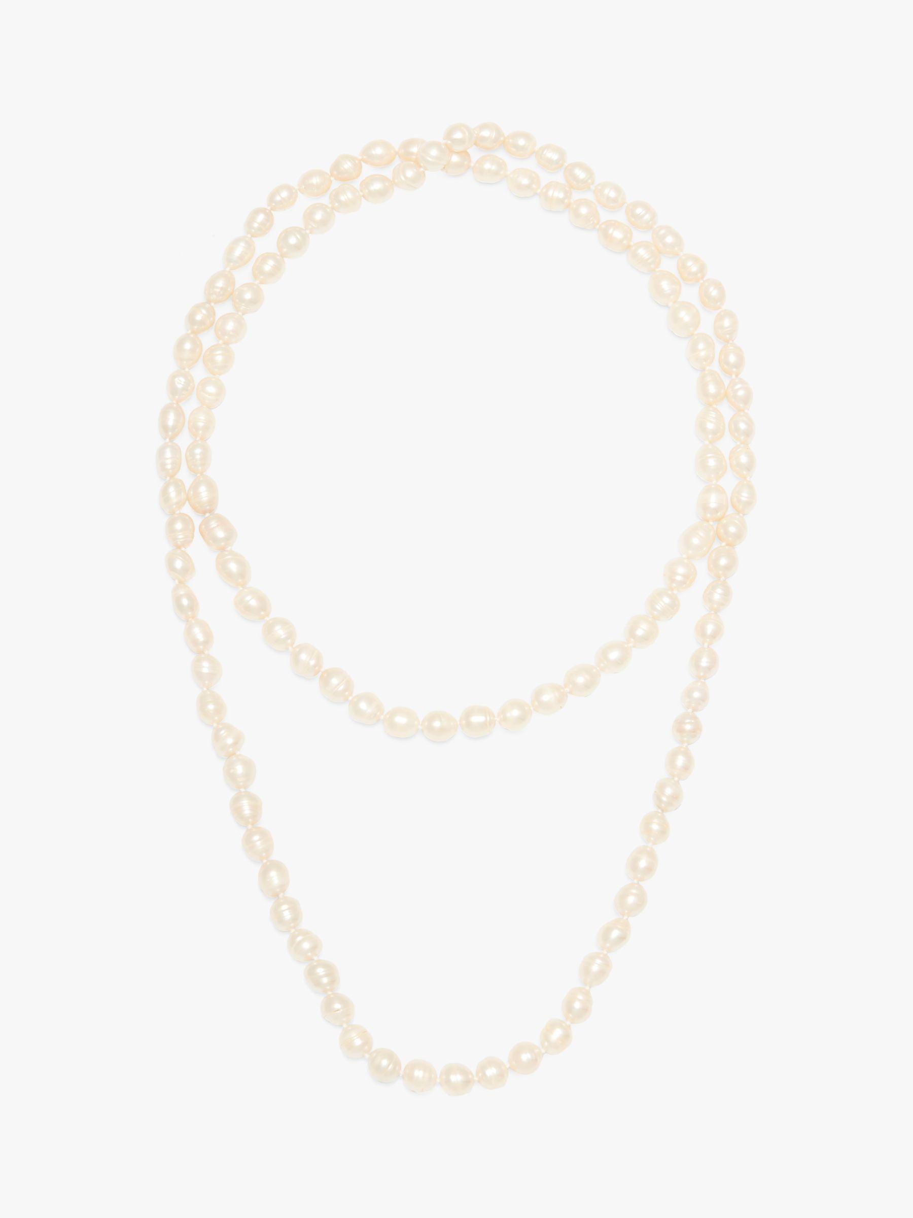 A B Davis A B Davis Opera Length Freshwater Pearl Necklace, White