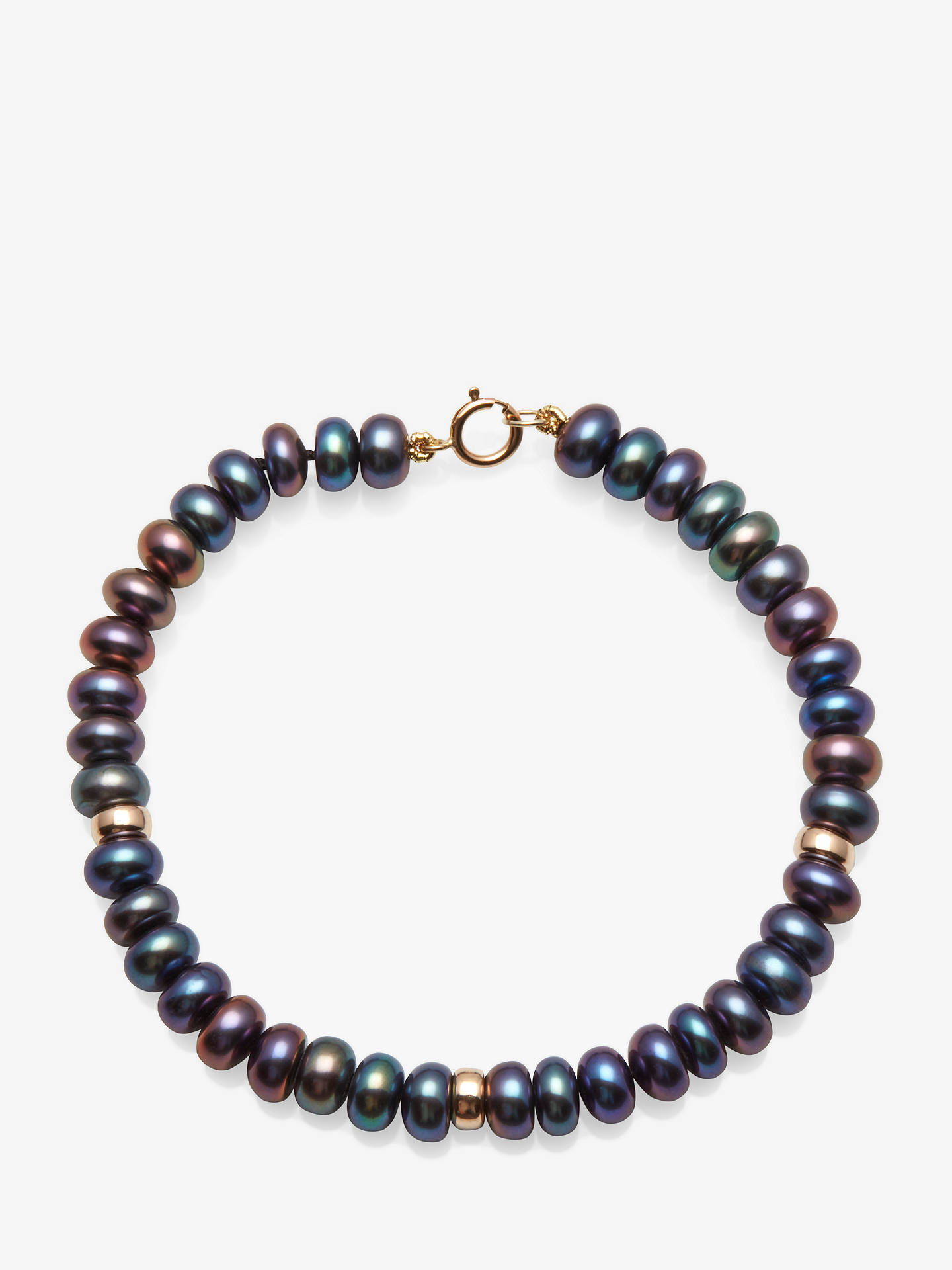 BuyA B Davis 9ct Gold Rondelle and Freshwater Pearl Bracelet, Peacock Black Online at johnlewis.com
