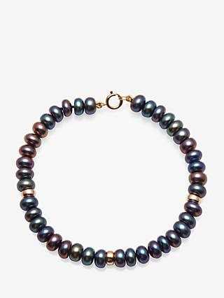 A B Davis 9ct Gold Rondelle and Freshwater Pearl Bracelet, Peacock Black