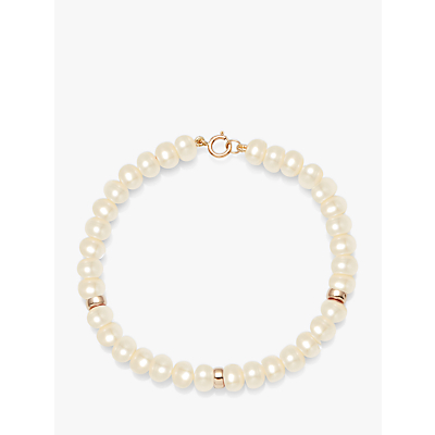 A B Davis 9ct Gold Rondelle and Freshwater Pearl Bracelet