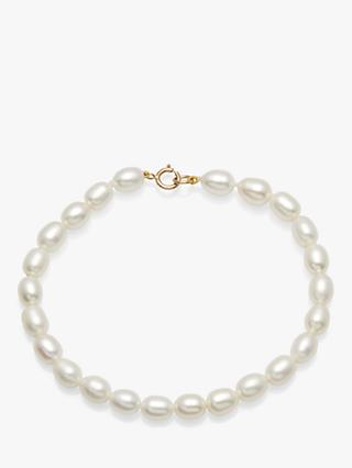 A B Davis 9ct Gold Clasp Rice Freshwater Pearl Bracelet, White