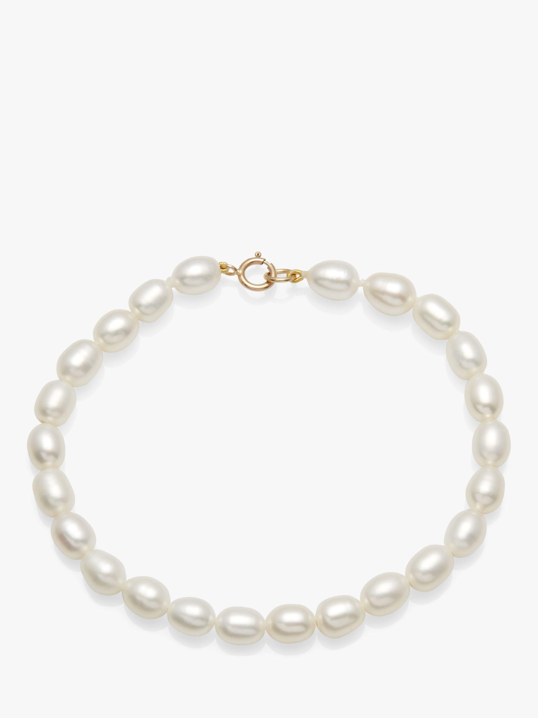 A B Davis A B Davis 9ct Gold Clasp Rice Freshwater Pearl Bracelet, White