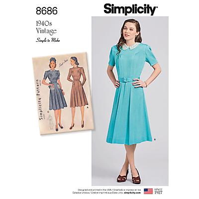 Image of Simplicity 1940s Vintage Dresses Dressmaking Leaflet, 8686