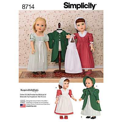 Image of Simplicity 18 Dolls' Clothes Sewing Pattern, 8714