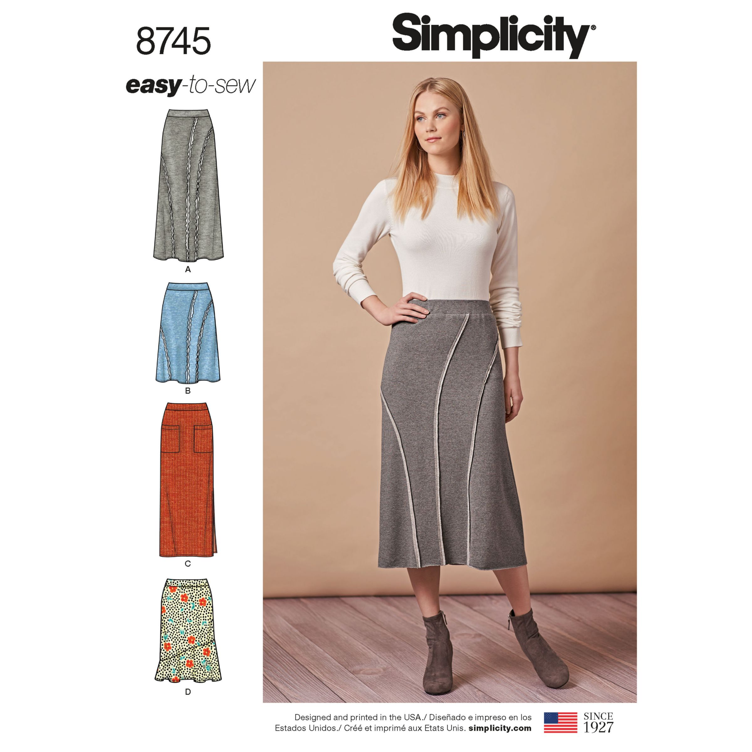 Simplicity Easy Sew Knit Skirts Sewing Pattern, 8745, XS-XL
