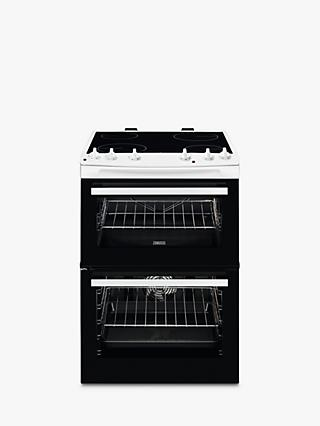 Zanussi ZCV66050WA Freestanding Electric Double Cooker, A Energy Rating, Black/White